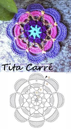 Free Mandala Crochet Patterns, Granny Square Crochet Pattern, Crochet Squares, Crochet Designs, Crochet Stitches, Crochet Leaves, Crochet Circles, Crochet Flowers, Crochet Dollies