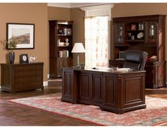Dark Finish Hardwood Executive Desk for Home Office -Wood Office Desk - Wood Office Hutch - Wood Office Cradenza - Online Discount Furniture