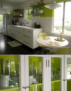 Green without overdoing it. I JUST know my mom would LOVE this kitchen.