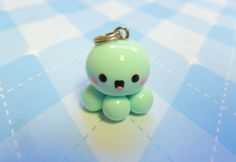 Kawaii Charm Mint Baby Octopus Chibi Charm Polymer by JollyCharms, $5.50