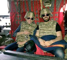 Chris Evans and Scarlet Johansson on USO tour
