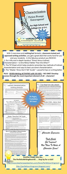 $6.50 - The first and most important element of fiction - now with SEVEN exclusively dedicated activities (up to 30 uses in one class) and a thorough introduction and CCSS! Enjoy our character expansion task cards and character data sheets. Guaranteed to inspire your high school and college students.