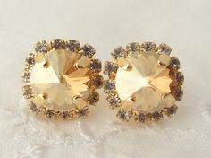 Champagne Swarovski rhinestones stud earrings by EldorTinaJewelry, $38.00
