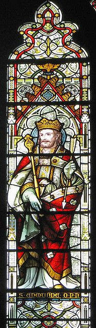 Stained glass of Edmund the Martyr from Our Lady and the English Martyrs church in Cambridge.+