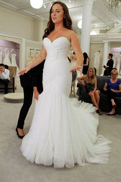 Season 14 Featured Dress: Amsale. Mermaid, strapless, flower detailing all over. $4,950.