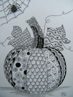 "$12.80 Original Zentangle Halloween Pumpkin Artwork Matted 8"" x 10"" 