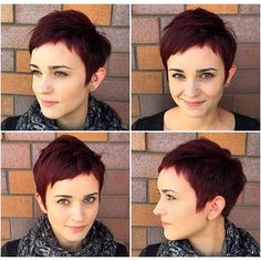 Unkept pixie :) love it! New hair color and textured pixie for my friend today! Short Pixie Haircuts, Pixie Hairstyles, Short Hair Cuts, Short Hair Styles, Red Pixie Haircut, Short Bangs, Red Bangs, Haircut Short, Hairstyles 2016