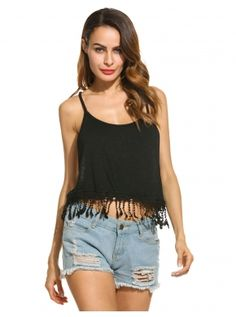 Fringed Cropped Crochet Lace Spaghetti Strap Solid Round Neck Cami Tops