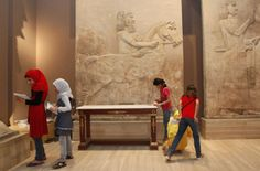 School students visit the Iraqi National Museum in Baghdad, Iraq.