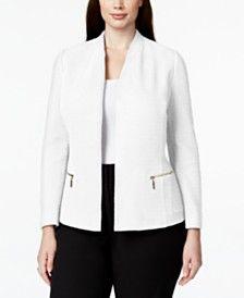 Alfani Plus Size Textured Zip-Pocket Blazer, Only at Macy's