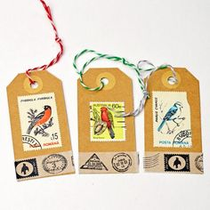 Make some personalised gift tags by using old postage stamps. Match the picture on the stamp to the recipients interests. Card Tags, Gift Tags, Cards, Old Stamps, Postage Stamp Art, Paper Tags, Kraft Paper, Displaying Collections, Christmas Tag