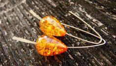 Baltic Amber Gold Hoops gold earrings amber by BalisTreasures, $15.00