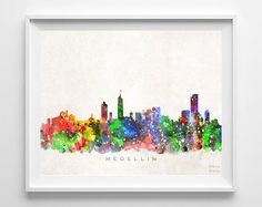 Medellin Skyline Print Colombia Art Cityscape by InkistPrints