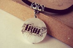 Word pendant. Inspiration jewelry. Black and White by PickaTat, $8.25