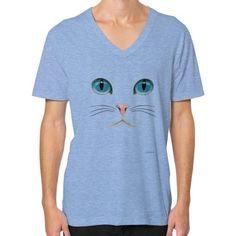 Cat Face V-Neck (on man) Shirt