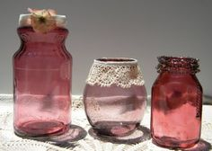 This is an interesting idea. Add modge podge, water, and food coloring to color your glass jars to a beautiful translucent jewel color.