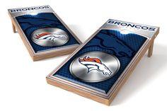 Denver Broncos Cornhole Board Set - Medallion (w/Bluetooth Speakers)