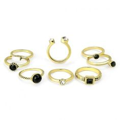 Yoins Black Resin and Artificial Crystal Ring Set (15 BRL) ❤ liked on Polyvore featuring jewelry, rings, yoins, black, resin jewelry, crystal stone jewelry, imitation rings, resin rings and artificial jewelry