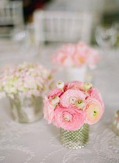Little ranunculus centerpieces / http://www.deerpearlflowers.com/40-romantic-pink-wedding-ideas-for-springsummer-wedding/