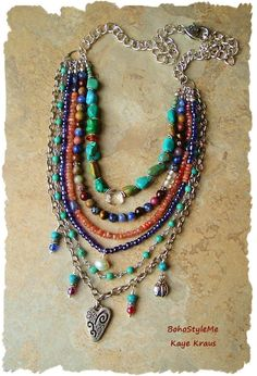 Necklace with natural ethnic authentic seed beads and wood organic boho beaded necklace with stone fruits and howlite in turquoise color