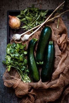 zucchini & herbs by carey nershi, via Flickr