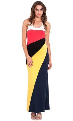 Diagonal Color Block Maxi Dress