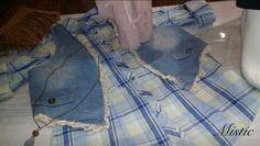 Camisa de cuadros azules y blanco, chaleco tejano con bordado en el lateral.