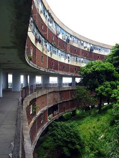 by botafogano, via Flickr  Conjunto Residencial Prefeito Mendes de Moraes (also known as Pedregulho), Architect: Affonso Eduardo Reidy, Brazil