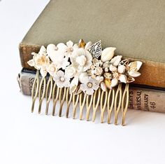 Vintage Bridal Wedding Hair Comb White Silver Shabby Chic Collage Upcycle