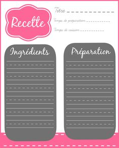 fiche recette vierge intercalaire menu cuisine pinterest cartes de recettes imprimer. Black Bedroom Furniture Sets. Home Design Ideas