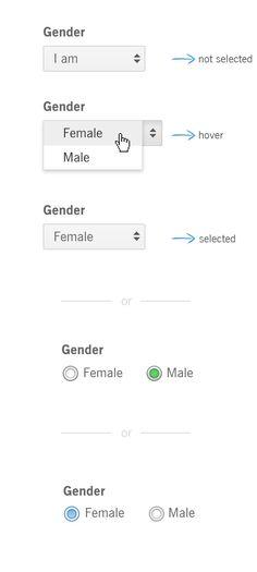 Gender Selection (select box or radio button) by veysel özdemir, via Behance  #ui #selectbox #radiobutton