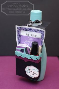 Cute Pre-teen/teen spa gift to use as party favors or gift for my Explorer girls - Lotion, Foot Scrub packet, emory board, nail polish, toe seperator (or whatever that thing is called).