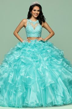 35947cbb92  368.99  Charming Tulle   Organza Jewel Neckline 2 In 1 Quinceanera Dress  With Beaded Lace Appliques   Detachable Skirt