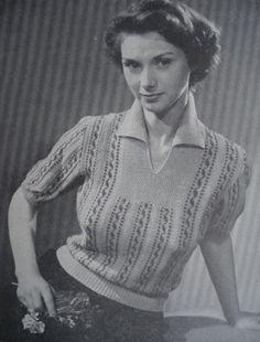 50's open neckline knitted shirt