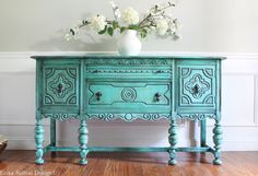 Antique BERNHARDT Ornate Jacobean Hand Painted French Country Cottage Chic Distressed Turquoise / Aquamarine Buffet Sideboard