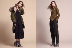 Women's arrivals, including blouses, slit skirts, slim fit pants, dresses, sparkly tops, cozy knits and coats.