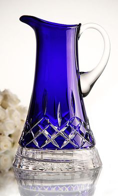 Waterford Lismore cobalt pitcher Waterford Lismore, Waterford Crystal, Cobalt Glass, Cobalt Blue, Glass Ceramic, Fenton Glass, Antique Glass, Or Antique, Cut Glass