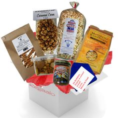 Snack Pack! This delicious package is a great gift for any #college student.. homemade kettle corn, caramel corn, party mix, pretzel sticks, tortilla chips and salsa! #shopping #carepackages #freeshipping #Chips #Dips #Salsa #Potato #Kettle #Corn #Rice
