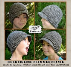 Herringbone Brimmed Beanie Pattern - Crochet Child, Youth/Teen and Adult Sizes Visor Beanie Style, longer in the back, visor to shade the eyes, unique stitch and detail around the base.
