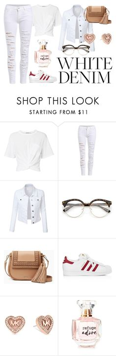 """White Denim"" by queendanie ❤ liked on Polyvore featuring T By Alexander Wang, LE3NO, Kate Spade, adidas, Michael Kors and Refuge"