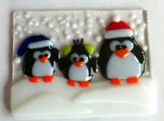 Handmade Glass Fusion Designs... Christmas/Winter Penguins 2012