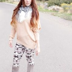 Over sized Sweater & Neutral Aztec Print Leggings New Outfits, Stylish Outfits, Cute Outfits, Fashion Outfits, Aztec Print Leggings, Sweaters And Leggings, Fancy Pants, Work Clothes, Leggings Fashion