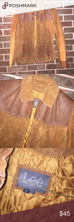 "Vintage leather Lee jacket Women's size small, but fits medium perfectly. Vintage genuine leather Lee jacket. Lined & warm. Pit-pit is 19"". Zips up front with front pockets. Really good condition! Lee Jackets & Coats"