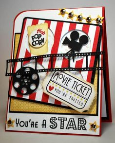 Tinker Stampin up card for a cinema voucher Ideas Scrapbook, Scrapbook Cards, Scrapbooking, Carton Invitation, Birthday Crafts, Disney Crafts, Kids Cards, Cute Cards, Homemade Cards