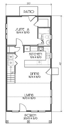 First Floor Plan of Bungalow Cottage Craftsman House Plan 76829 Erster Grundriss des Bungalow Cottag Craftsman Style House Plans, Cottage House Plans, Small House Plans, Craftsman Farmhouse, Craftsman Houses, Craftsman Interior, The Plan, How To Plan, Tyni House
