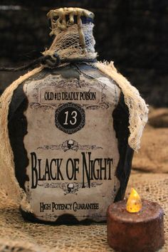 Handmade Halloween Potion Bottle Set  Black of Night ~ Vampire Bat Wings ~ Werewolf Fur  A must have for your Halloween Home Haunt!! …