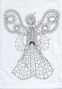 Asociación Encajeras de Bolillos Ibn al Baytar: PATRÓN DE ANGEL PARA LA NAVIDAD Bruges Lace, Bobbin Lacemaking, Bobbin Lace Patterns, Lace Heart, Point Lace, Tatting Lace, Linens And Lace, Lace Making, Antique Lace
