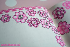 Pink Flower Border~ paper  tape and doodles with same color tape for journal/diary pages