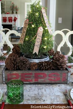 Vintage wood soda crate Christmas tree centerpiece eclecticallyvintage.com