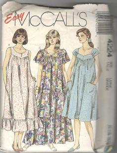 43018e32f42 McCalls 4224 1980s Misses Pullover Dress Pattern Muu Muu Sleeve Neckline  Variations Womens Vintage Sewing Pattern Size EX Small Bust 30 31
